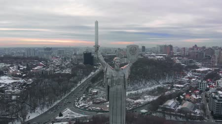 kard : Kiev, Ukraine. The Motherland Monument. Aerial view of the Motherland Monument also known as Rodina Mat. Kiev city is the capital of Ukraine in winter. Statue of the Motherland, in Kiev, Ukraine.