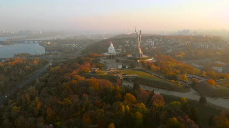Kiev City the capital of Ukraine. Drone footage aerial view of the Motherland Monument at autumn in Kiev Kyiv, Ukraine. Aerial view, video footage.