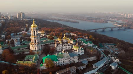 Aerial view of Kiev Pechersk Lavra in autumn, Kiev, Kyiv, Ukraine. Kyiv-Pechersk Lavra on a hill on the banks of Dnipro river. Drone footage Aerial view of Kiev Pechersk Lavra in Kyiv Kiev, Ukraine.