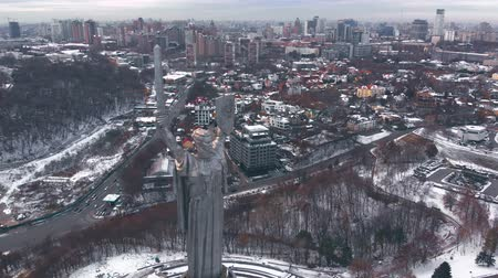 kard : Aerial view of Monument Motherland, Kiev, Ukraine. Kiev City - the capital of Ukraine. Kyiv. Mother Motherland. The monument is located on the banks of Dnieper River. Kiev, Ukraine Aerial view.