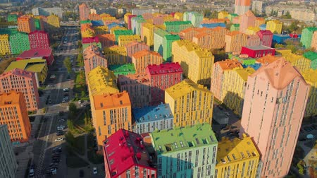 construtor : Aerial view of district of colorful houses in Kiev, Ukraine. Comfort town buildings. Aerial view, drone video footage. Vídeos