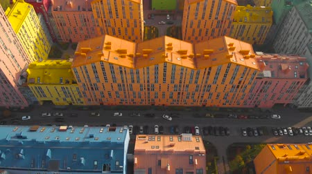 construtor : Top view of the colorful buildings, aerial footage from the drone on Comfort Town. Residential district in Kiev. Aerial view of district of colorful houses in Kiev, Ukraine. Comfort town buildings.