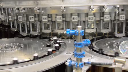 ale : Beer fills bottles in the workshop, on specialized equipment. Beer in brown plastic bottles on the conveyor. Shop for bottling beer in a brewery. Shop for bottling and packaging beer. Stock Footage