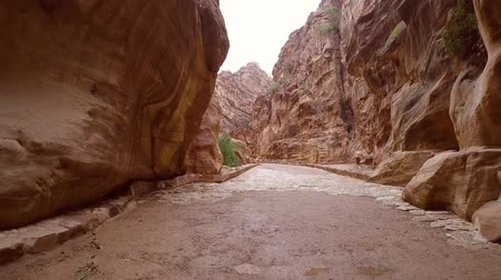 Camera moves along the gorge near the treasury of Al Khazneh. Walking inside the Al Siq Canyon old near water canal in ancient city of Petra to main entrance of the Treasury. Cinematic video footage.