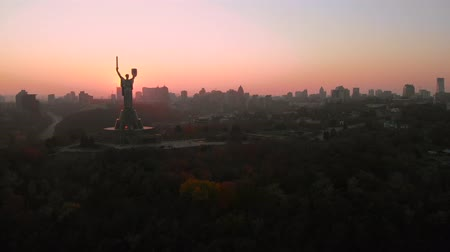 미드 타운 : Kiev City the capital of Ukraine. Kiev skyline over beautiful fiery sunset, Ukraine. Aerial view, video footage.