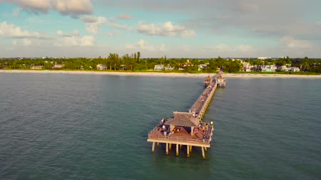 neapol : Naples Beach and Fishing Pier at Sunset, Florida. Sunset over the Gulf of Mexico, Drone flying above pier. People walk on a pier in Naples, Florida to watch the sunset. Wideo