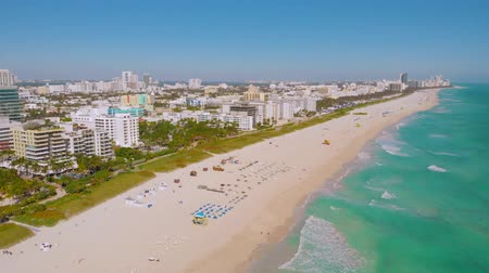 vacant : Panorama of South Beach, Miami Beach, South Pointe Park, Government Canal. Florida. Miami City - South Beach - Lummus Park, Ocean Drive and shore Long Aerial shot of the South Beach, Miami City, 4k.