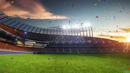 estádio : stadium Moving lights, animated flash  with people fans. 3d render illustration cloudy sky. Confetti and tinsel Stock Footage