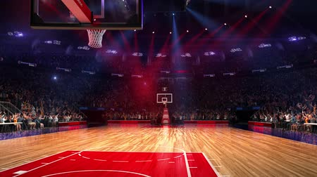 баскетбол : Basketball court with people fan. Sport arena. Ready to start championship. 3d render. Moving lights. With people Стоковые видеозаписи