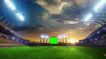 piłka nożna : stadium Moving lights, animated flash  with people fans. 3d render illustration cloudy sky. Confetti and tinsel Wideo