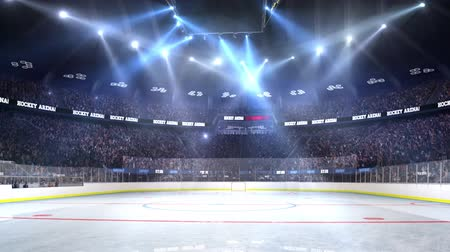 арена : Hockey court with people fan. Sport arena. Ready to start championship. 3d render. Moving lights Confetti and tinsel