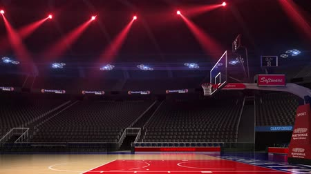 lokalizacja : Basketball court without people fan. Sport arena. Ready to start championship. 3d render. Moving lights and flash
