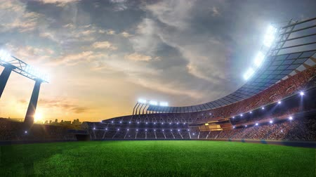 piłka nożna : stadium Moving lights, animated flash  with people fans. 3d render illustration cloudy sky