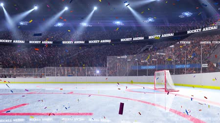 hockey rink : Hockey court with people fan. Sport arena. Ready to start championship. 3d render. Moving lights Confetti and tinsel