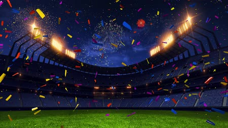 estádio : stadium Moving lights, animated flash  with people fans. 3d render illustration cloudy sunset Confetti and tinsel, firework