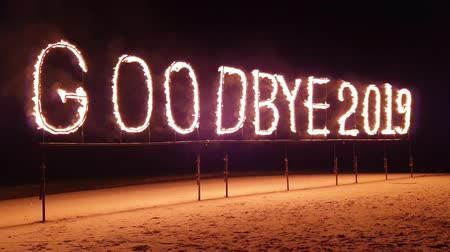 あなたの : End of year celebration: Goodbye 2019 burning inscription 動画素材
