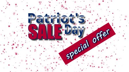 typografie : Banner on Patriot`s Day sale, special offer with USA flag colors