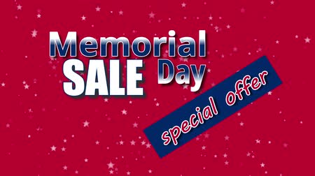 typografie : Banner on Memorial Day sale, special offer with USA flag colors