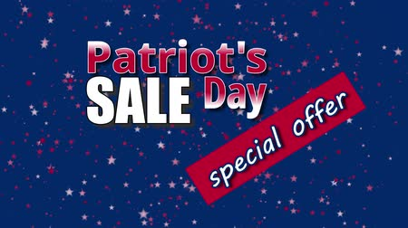 Banner on Patriot`s Day sale, special offer with USA flag colors