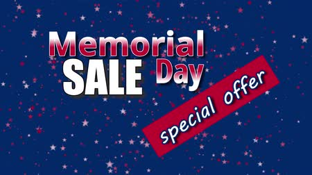 Banner on Memorial Day sale, special offer with USA flag colors