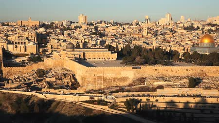 mekan : Jerusalem Cityscape, Israel Stok Video