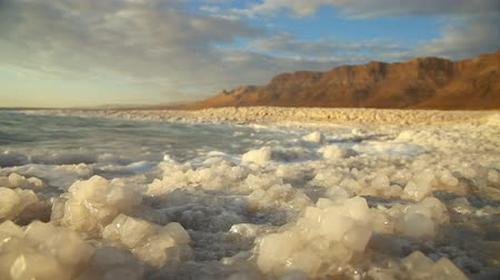 beach panorama : Dead Sea salt. Israel