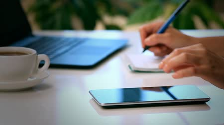 black tea : Woman hands with tablet PC and notepad Stock Footage