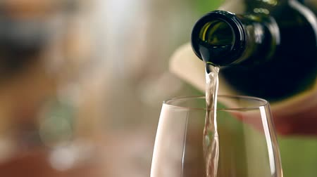 Бордо : Pouring white wine into glass Стоковые видеозаписи