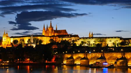 prague bridge : Prague Castle after sunset. Czech republic. Timelapse Stock Footage