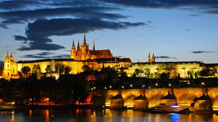 cseh : Prague Castle after sunset. Czech republic. Timelapse Stock mozgókép