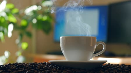 xícara de café : Cup of coffee. Sliding camera Stock Footage