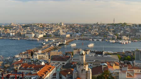boynuzları : View to Golden Horn from Galata tower. Istanbul Turkey Stok Video