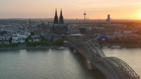 köln : Cologne Cathedral and Hohenzollern Bridge. Cologne Germany Stock mozgókép