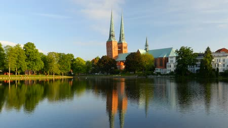 lubeck : Lubeck old town, Cathedral and Trave river, Germany