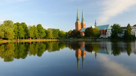 trave : Lubeck old town, Cathedral and Trave river, Germany