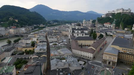 mozart : Historic city of Salzburg, Austria Stock Footage