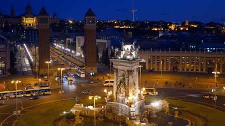 Каталония : Placa De Espanya Square of Spain. Barcelona, Spain Стоковые видеозаписи