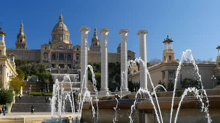 Каталония : View of Catalunya National Museum of Art. Barcelona, Spain Стоковые видеозаписи