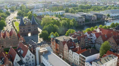 schleswig : Arial view from the Saint Petri Church tower over the city, Lubeck, Germany. Panning shot