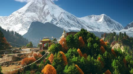 mt : Himalayas mountain landscape. Mt. Manaslu in Himalayas, Nepal. Stock Footage