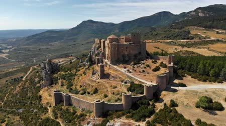 rock wall : Medieval castle of Loarre in Aragon, Spain. Aerial view. UHD, 4K