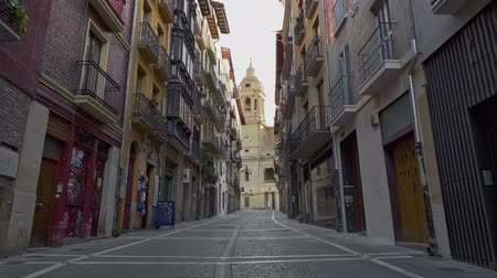 peregrino : Pamplona, Navarra, Spain. Walking down the old street of Pamplona old town. Gimbal shot
