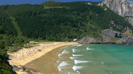 north bay : Beautiful white sand beach Playa de Laga. North coast of Spain, Basque Country. 4K, UHD Stock Footage
