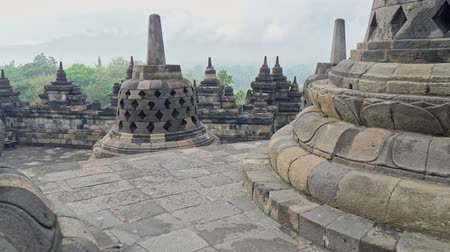 biggest : Gimbal shot of Borobudur, the worlds largest Buddhist temple, in Central Java, Indonesia. 4K, UHD