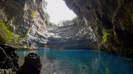 speleology : Melissani lake on Kefalonia island, Greece. Gimbal shot, 4K