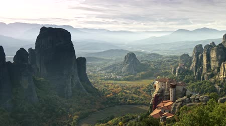 kalambaka : Panning shot of Meteora Monastery mountain in Greece. UHD, 4K