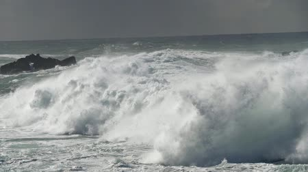 storming : Raging ocean storm. Slow motion shot Stock Footage