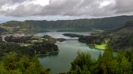 sete : Lagoa das Sete Cidades - lakes and town on Sao Miguel Island, Portuguese archipelago of the Azores. Time lapse, 4K