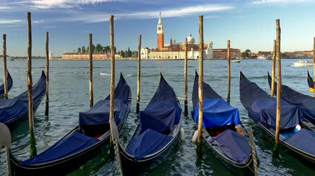 Venice, Italy. Docked gondolas covered with blue canvases swaying in the waves. St. Marks Basilica is seen in the background. UHD Стоковые видеозаписи