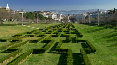 Labyrinth decorated bushes in the Eduardo VII Park in Lisbon, Portugal. Стоковые видеозаписи
